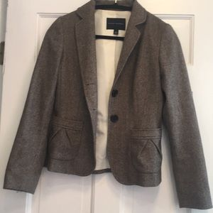 Brown Herringbone Wool Tweed Blazer
